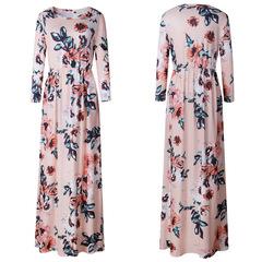 Ladylike demeanor Longuette Three Quarter Sleeve Round collar Printing fragmentation Dress s pink