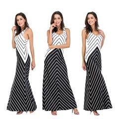 Evening dress Round collar Sleeveless Back Crossing Modeling Oblique stripe Long skirt Dress s black