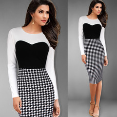 Classic dress Round collar Long sleeves Black and White Chicken Bird Square Knee Pencil Skirt s black and white