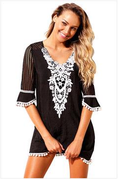 Summer 2019 Women's dress sexy V collar Tassels Hollow knitting decoration s black
