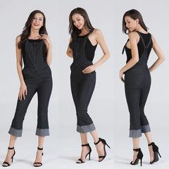 Ladies'Belt Pants Jeans Seven-split pants Trumpet leg Overalls dark blue s