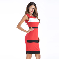 Tight dress Wide transverse stripes Round collar Sleeveless Buttock Comfortable Fashion s Red with Black