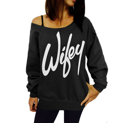 New Autumn Products of 2019 Fashion printing letters Long sleeves Cotton sweater Female coat black s