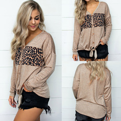 New Leisure Style Leopard Print Long sleeves V collar Buckle cotton Women's jacket khaki s