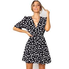 New Summer Female Deep V-collar Short sleeve Broken Stone Flowers Belt Dress s black