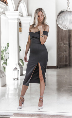 New Fashion Style of 2019 sexy Wrap chest Fork opening Dress Evening dress s black