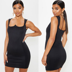 Sexy salience curve black square neck Wide sling Package hip dress s black