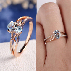 Exquisite Women 14K Rose Gold Plated Ring Oval Jewelry Proposal Promise Gift Men Ring women ring style 2 6