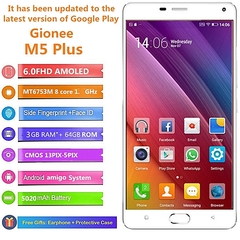 Certified Refurbished:Gionee M5 Plus 3GB+64GB 5020mAh 6.0 inch AMOLED 13MP+5MP 4G net smartphone gold