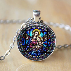 New Virgin Mary and Child Stained Glass Christian Jewelry Baby Jesus Jewelry necklace silver one size
