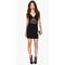 Package-hip Dress Deep V Shape Collar And Spliced Lace Dress Black XL