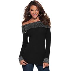 Sexy One-line Collor T-shirt Woman Zipper Design Long Sleeve Slim Basic Top Black L