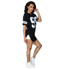 Gamiss Casual 99 Printing Black Woman T-shirt Irregular Hem Loose Sport T-shirt Black XL