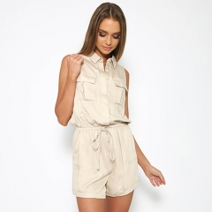 Casual Comfortable Women Easy Matching Solid Color Elasticated Waist Jumpsuit White XL