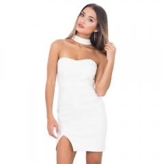 GAMISS Sexy Women Halter Neck Tube Dress Knit Side Slit Skirt Short Dress white M