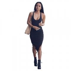 Street Fashion Sexy U-neck Draw Rope Hem Woman Close-fitting Dress Black M