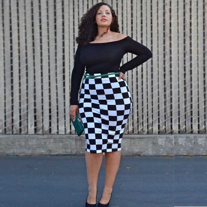 GAMISS Woman Classic Black And White Grid Printed Hip OL Style Long Sleeve Dress As the picture L