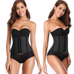 Postpartum abdomen body sculpting exercise fitness waist trainer 9 steel bone rubber women's corset black Short XXS