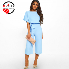 ORFILA new women's clothing 2019 summer fashion wild tie button short-sleeved women's jumpsuit Navy Blue xl