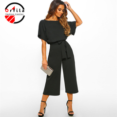 ORFILA new women's clothing 2019 summer fashion wild tie button short-sleeved women's jumpsuit Black m