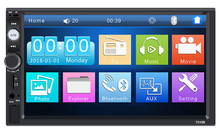 Sunlly  Double Din Car Radio - Bluetooth Touch Screen 7 inch,Video MP5/4/3 Player (YYD-7010B)