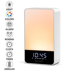 Intelligent Bedside Lamp and Digital LED Clock with 9 Color Switch and for Bedrooms White 7.62cm 5 Level