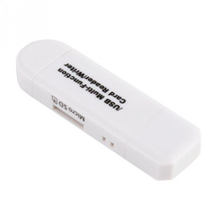 3 In 1 OTG Card Reader High-speed USB2.0 Universal OTG TF/SD for Android Computer Extension Headers white one size