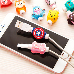 Cartoon Cable Protector Data Line Cord Protector Protective Case Cable Winder Cover Charging Cable random color one size