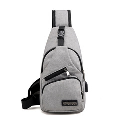 2019 New men's summer side cross pouch Oxford cloth leisure travel USB shoulder bag gray 17*9*33