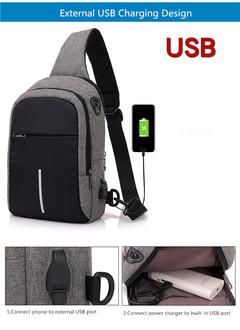 New canvas chest bag for men creative fashion cross shoulder bag fo  leisure anti theft chest bag black 21*9*30