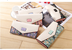 New mini floral checkered color envelope with buckle for ladies purse long purse clutch leather bag purple 20*10*3