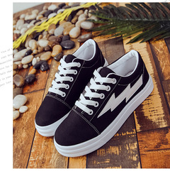 2019 spring and summer canvas shoes canvas shoes thick white shoes lightning pattern road shoes Black 38