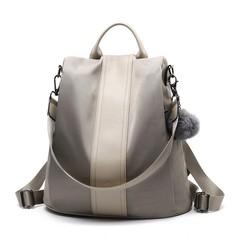 Quality Leather Anti thief Women Backpack Large Capacity Hair Ball School Khaki-Nylon 32x15x33cm