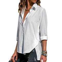 Women's Office Lady Chiffon Irregular Shirt Top Black White Red Long Sleeve Female Blouse 2019 Summer Shirts Tops Plus Size 5XL-in Blouses & Shirts from Women's Clothing