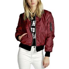 Women's Clothes  Lady Thin Jackets Fashion  Bomber Casual Stand Collar Thin Slim Fit Outerwear red xl