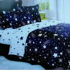 1 Duvet, 1 Bedsheet, 2 Pillowcases - Blue & White with Star Print multicolour 6*6