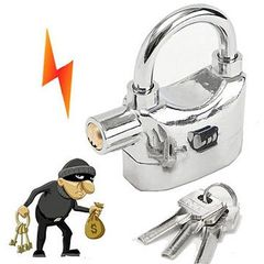 Tamper-proof Security Alarm Padlock Lock  (Big) Silver Large