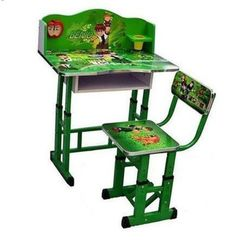 Kids Study Table And Chair Set - Computer Table Chair For Kids, Study Table And Chair Set Green
