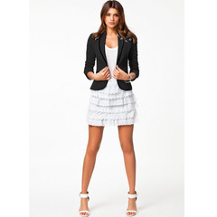 Leisure wild fashion slim fit temperament small suit jacket solid color splice long sleeve blazer black m