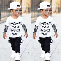 Newborn BABY Boys Clothing Set Fall Autumn Tops Shirt+Long Pants Toddler Outfit Kids Clothes Suit white 90
