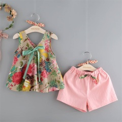 Baby Girl Clothing Set Floral Vest Pink Pants Shorts Kids Clothes Girls Suit Toddler Outfit pink 110(2-3t)