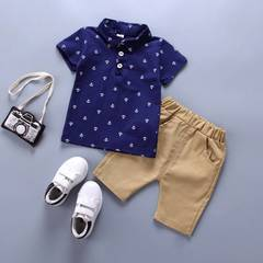 Baby Boys Clothing Set Short Sleeve Shirt+Shorts Pants Kids Clothes Suit For Party Birthday dark blue 80(6-12m)