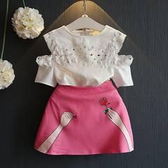 Kids Set Girl Clothing Fashion Summer Baby Girls Outfit Short Sleeve Shirt Tops+Pink Skirt pink 140(5-6t)