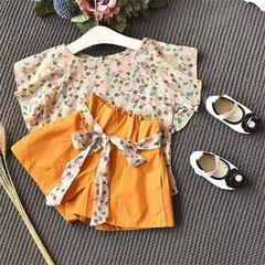 Kids Baby Girl Set Fashion Summer Clothing Baby Girls Outfit Short Sleeve Shirt Tops+Orange Shorts yellow 130(4-5t)