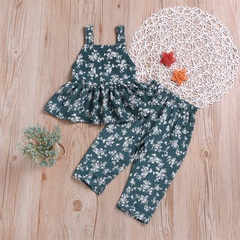 Baby Kids Girl Clothing Set Floral Summer Green Infant Girls Clothes Suit Toddler Outfit Kid Set Green 120(3-4t)