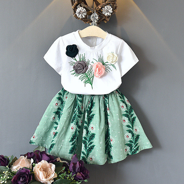 kids Baby Girl Clothing Set Rose Short Sleeved T-shirt + Skirt Set Outfit Fashion Suit as picture 100/18-24m
