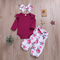 Little Baby Girls Clothing Set Toddler  Floral Suit Top + Pants + Headwear Newborn Baby r Clothes as picture 70/3-9m