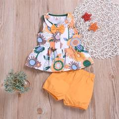 Summer Infant Baby Girl Clothing Set Newborn Baby Vest + Shorts Print 2 Piece Suit Fashion Clothes as picture 80/12-18m