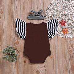 Infant Baby Girl Clothing Suit Flying Sleeves + Headscarf Romper Jumpsuit Toddler Outfit Clothes as picture 70/82-29cm
