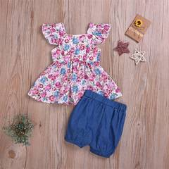 Infant Baby Girl Clothing Floral Suit Sleeveless Top + Blue Shorts Newborn Baby Fashion Clothes as picture 120/3-4t